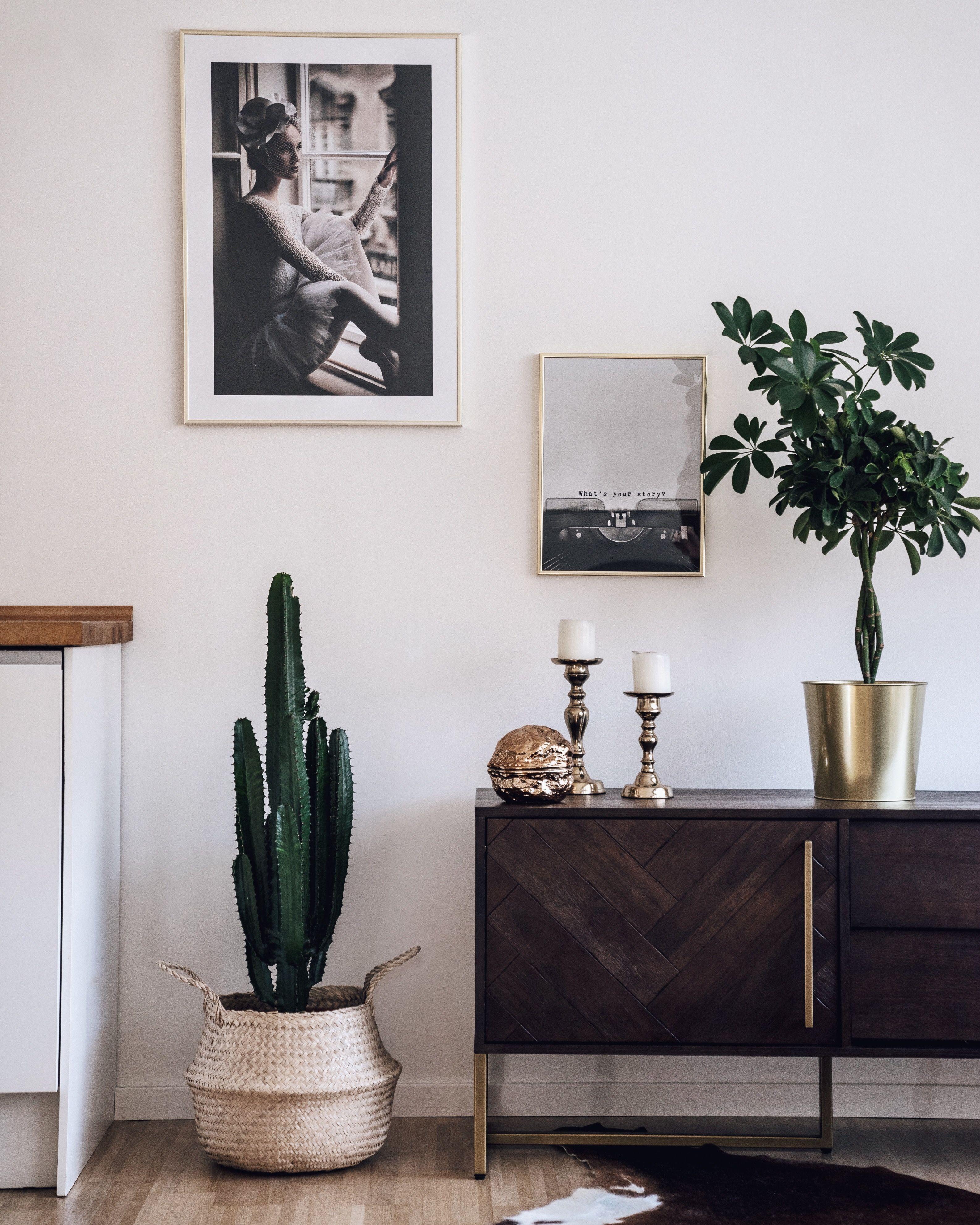 Vintage Interior Inspo Interior Design Kaktus Bastkorb Poster Von Desenio Gold Boho Interior Pflanzen Inneneinrichtung Innenarchitektur Zimmerdekoration