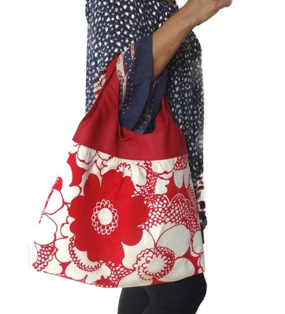 Oversized Fl Slouch Bag White Red Hobo Shoulder Faux Leather Gift For Her