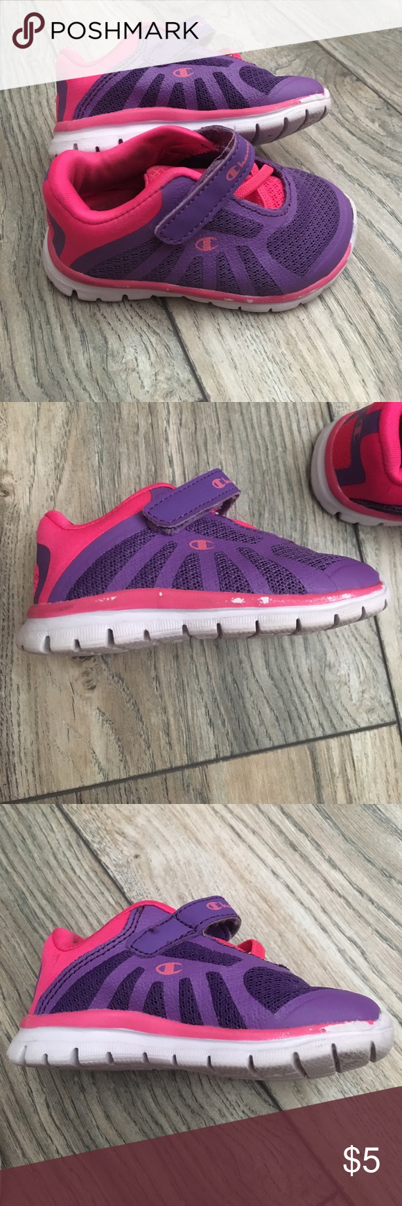 b7fb0c91c09dd Pink peeling in few places as seen in photos but besides that outside of  shoe in good shape. Size 4w. Champion Shoes Baby   Walker
