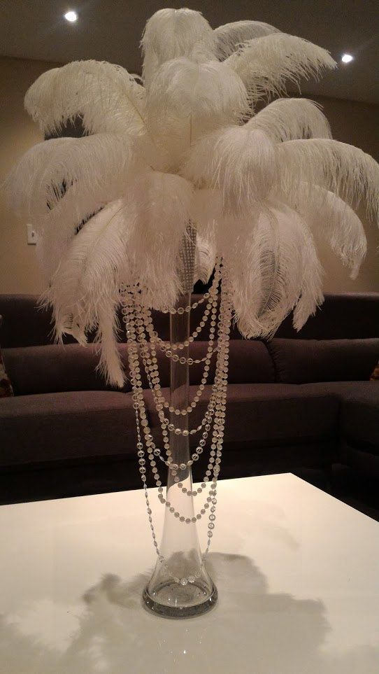 Ostrich Feather Centerpiece With Acrylic And Pearl Garlands For A