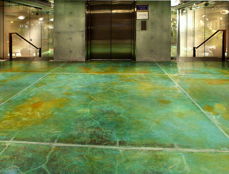 Green Floors gorgeous green stained concrete floors. http://www