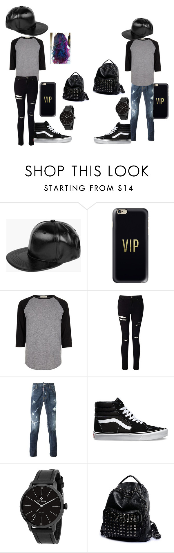 """#twins"" by tigernight on Polyvore featuring Boohoo, Casetify, River Island, Miss Selfridge, Dsquared2, Vans and Rip Curl"