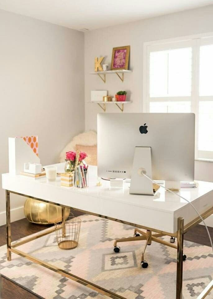 White And Gold Desk Sligh Executive Desk