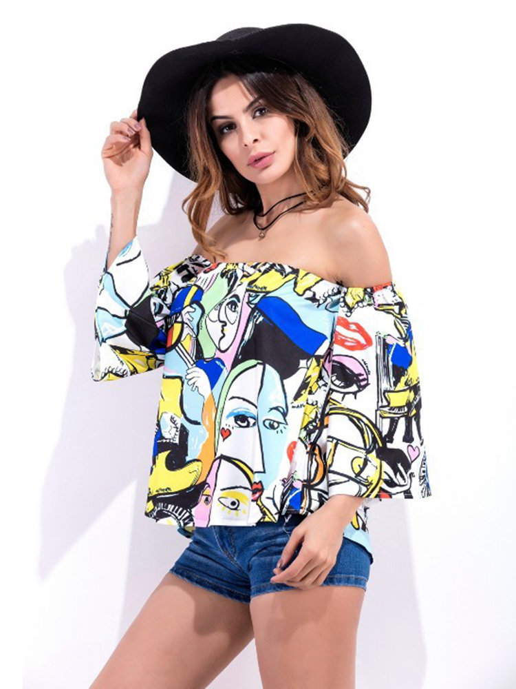 1c329f3115c Sexy Graffiti Printing Off-shoulder Horn Sleeve Women Blouse ...