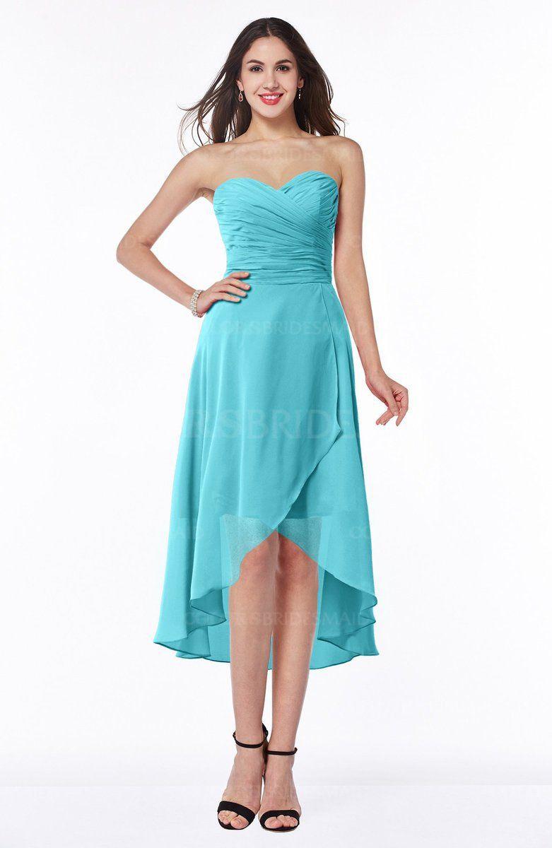 Turquoise simple aline one shoulder zip up knee length ruffles plus