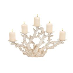 Strikingly-styled Polystone Metal Coral Candle Holder will add a touch of class to any room!