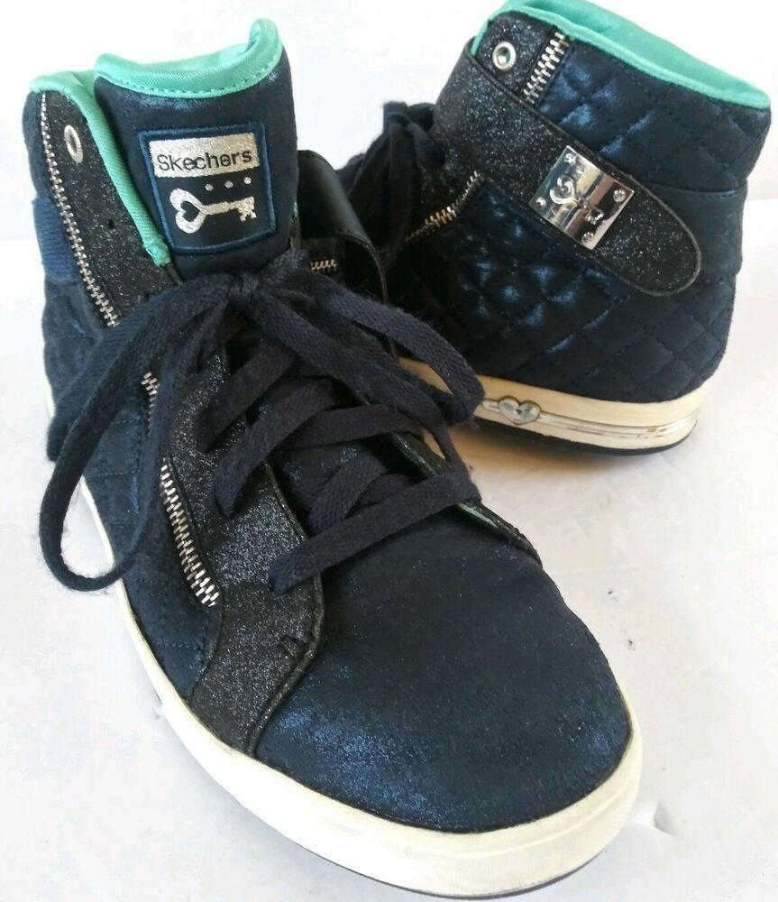 Stylish blue Skechers Womens Sz 6 Ankle Shoes silver Zipper