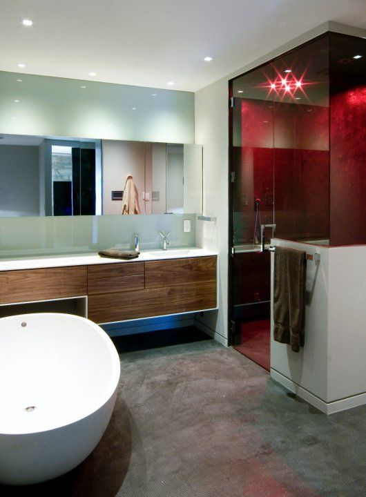 Curbless shower, hinged shower door, wall mounted vanity DESIGN
