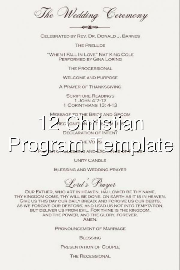 12 Christian Wedding Program Template Picture In 2020 Christian Wedding Ceremony Christian Wedding Wedding Programs Template