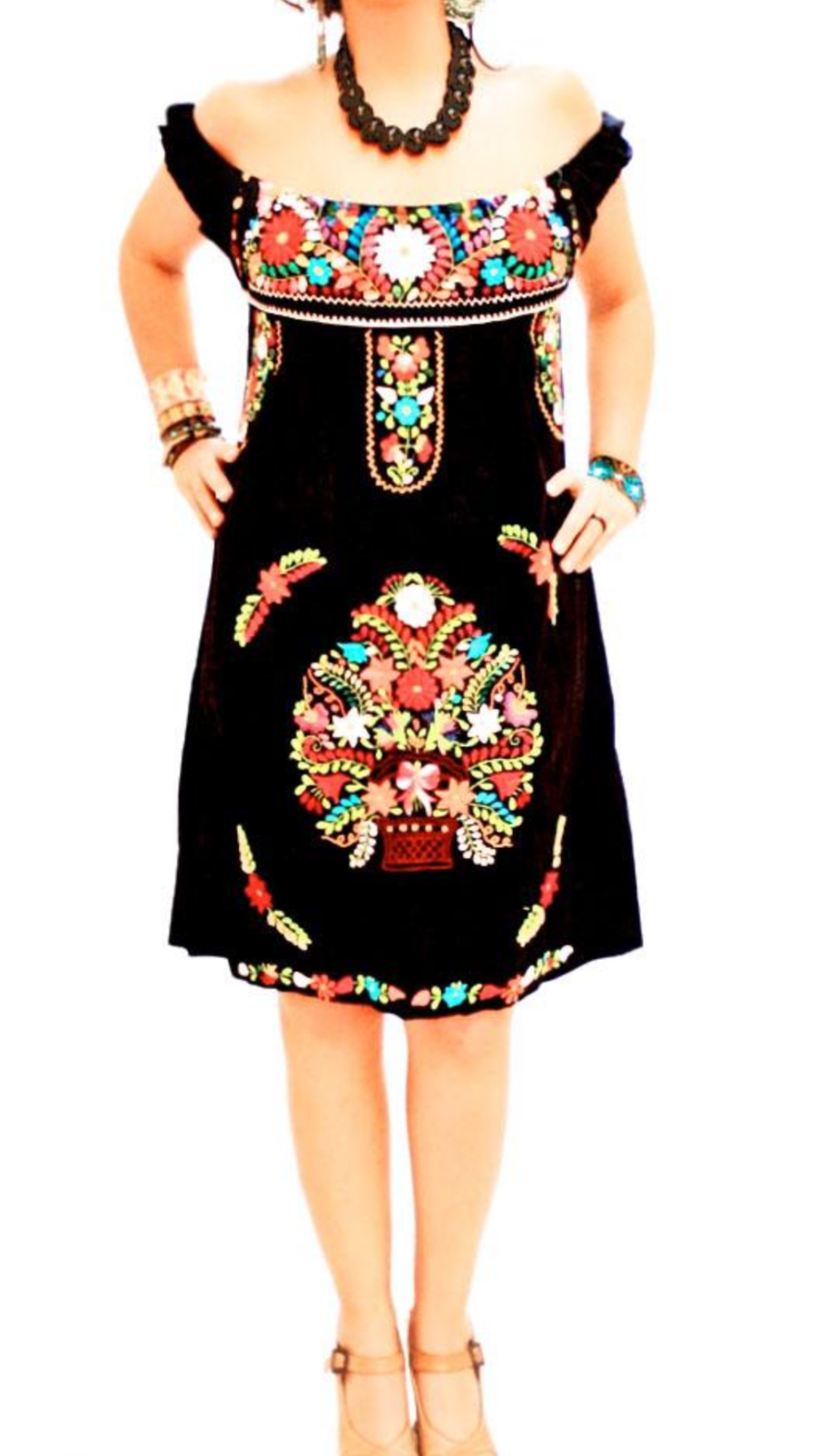54969ccb1b1 Mexican Traditional Embroidered Dress Off-Shoulder