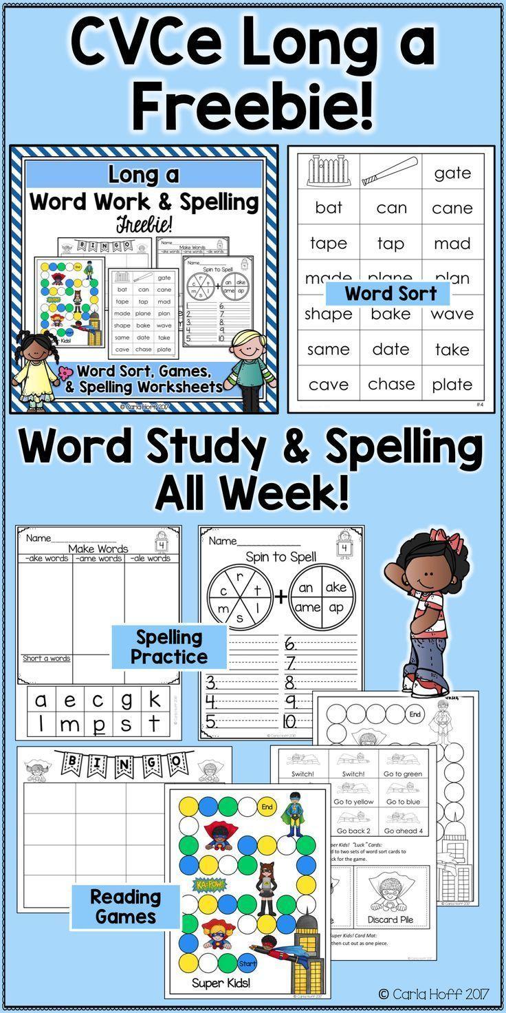 Enjoy a week of CVCe work work, spelling activities, and worksheets ...