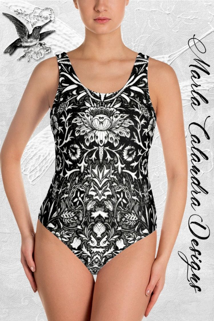 dec0893a1e8 THIS IS MY BEAUTIFUL EMPRESS DAMASK DESIGN BLACK AND WHITE ONE-PIECE  BATHING SUIT!