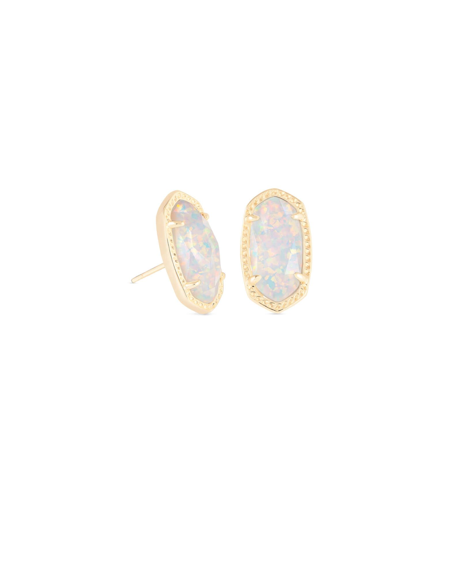 6b86bf865 Ellie Gold Stud Earrings in White Kyocera Opal in 2019 | Jewelry ...