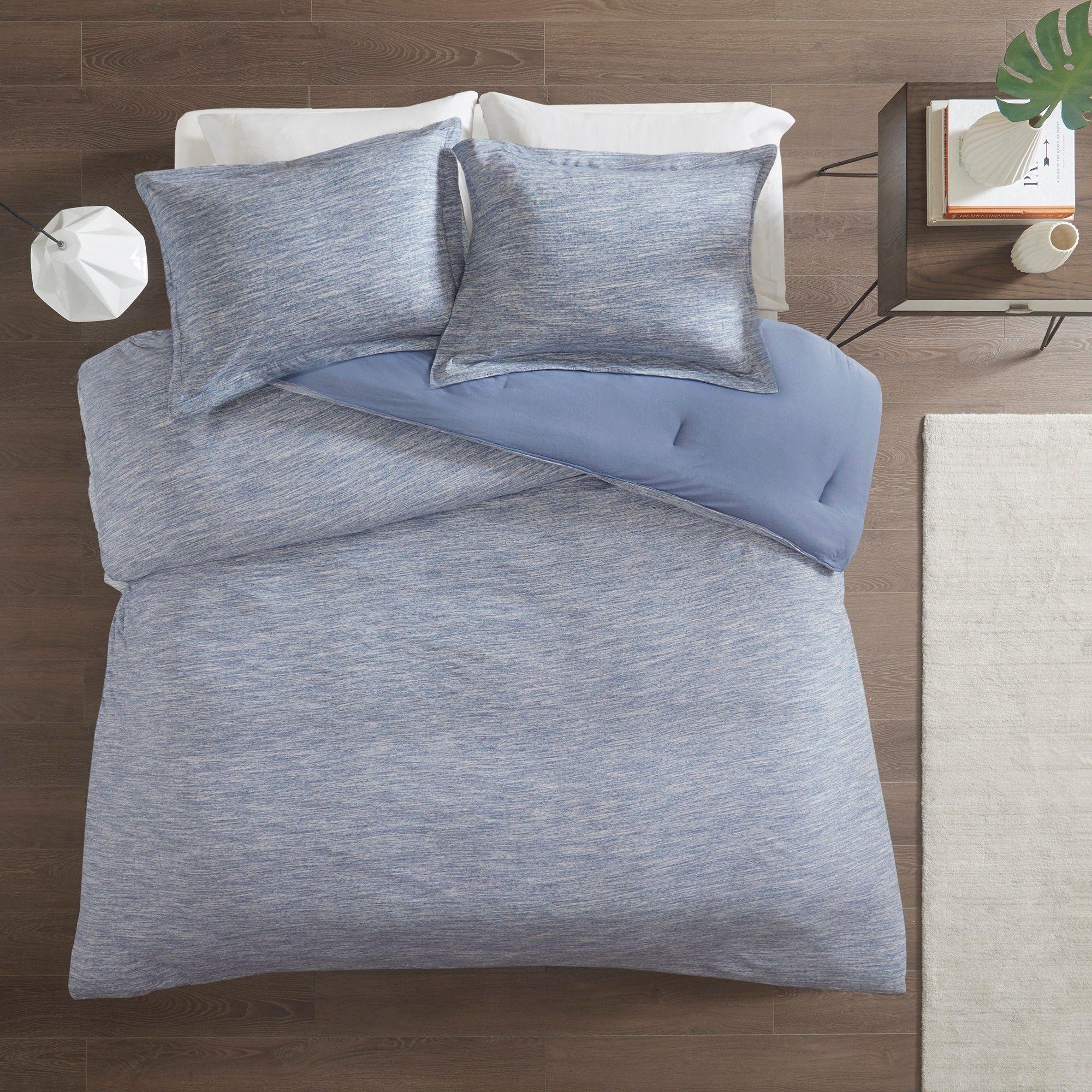 Full Queen 3pc Spacedye Cotton Jersey Comforter Set Blue