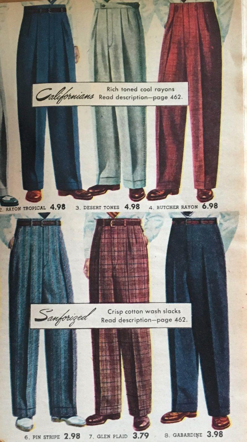 decca021ffa 1950s mens pants trousers in plain a big patterns