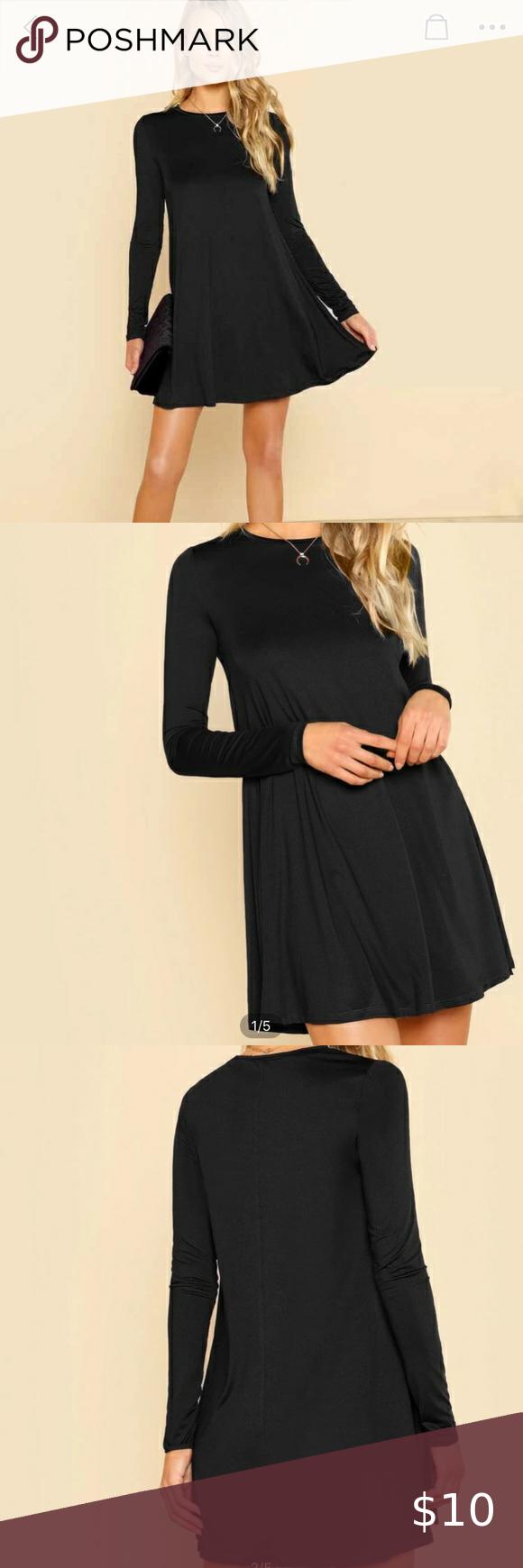 Nwt Black Swing Dress Shein Basic Long Sleeve Flow Black Swing Dress Basic Long Sleeve Dresses [ 1740 x 580 Pixel ]