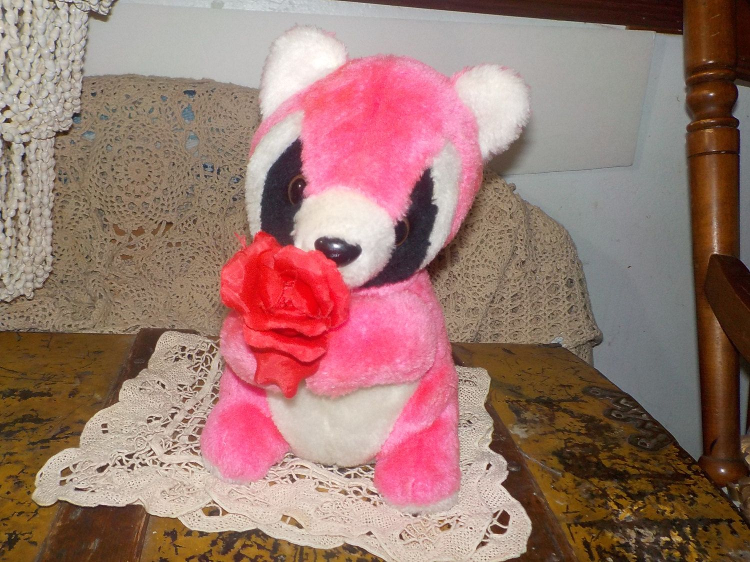Sweet Pink and White Racoon  1985 Etone by Daysgonebytreasures on Etsy