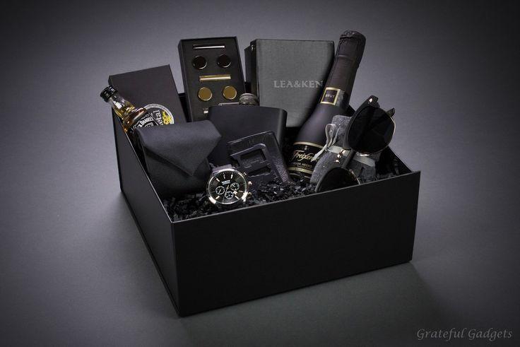 Items similar to Men's Gift Box, Complete Men's Gift Set, Men's Watch, Sunglasses, Flask, Tuxedo Set, Cufflinks, Tie Clip, Bottle Opener, Luxury Gift Box on Etsy