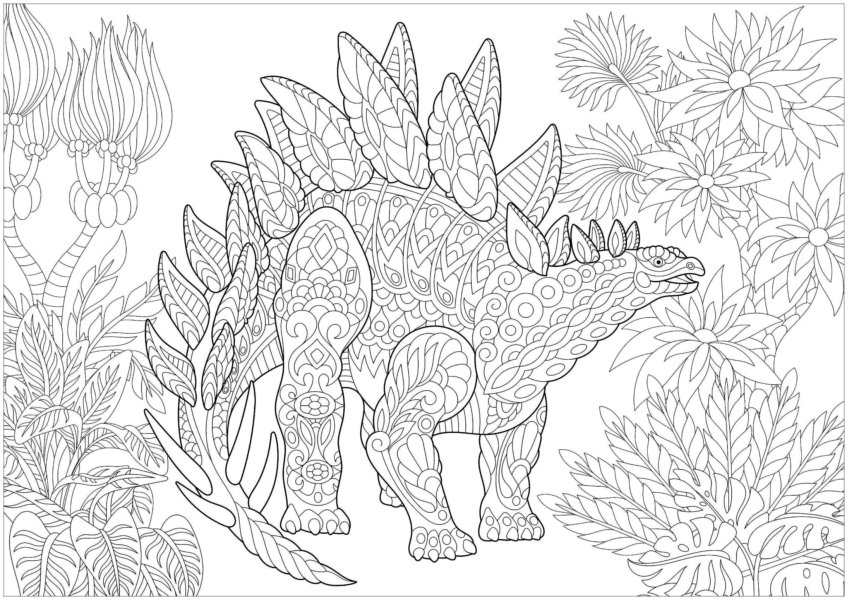 Stegosaurus Dinosaurs Coloring Pages for Adults Just