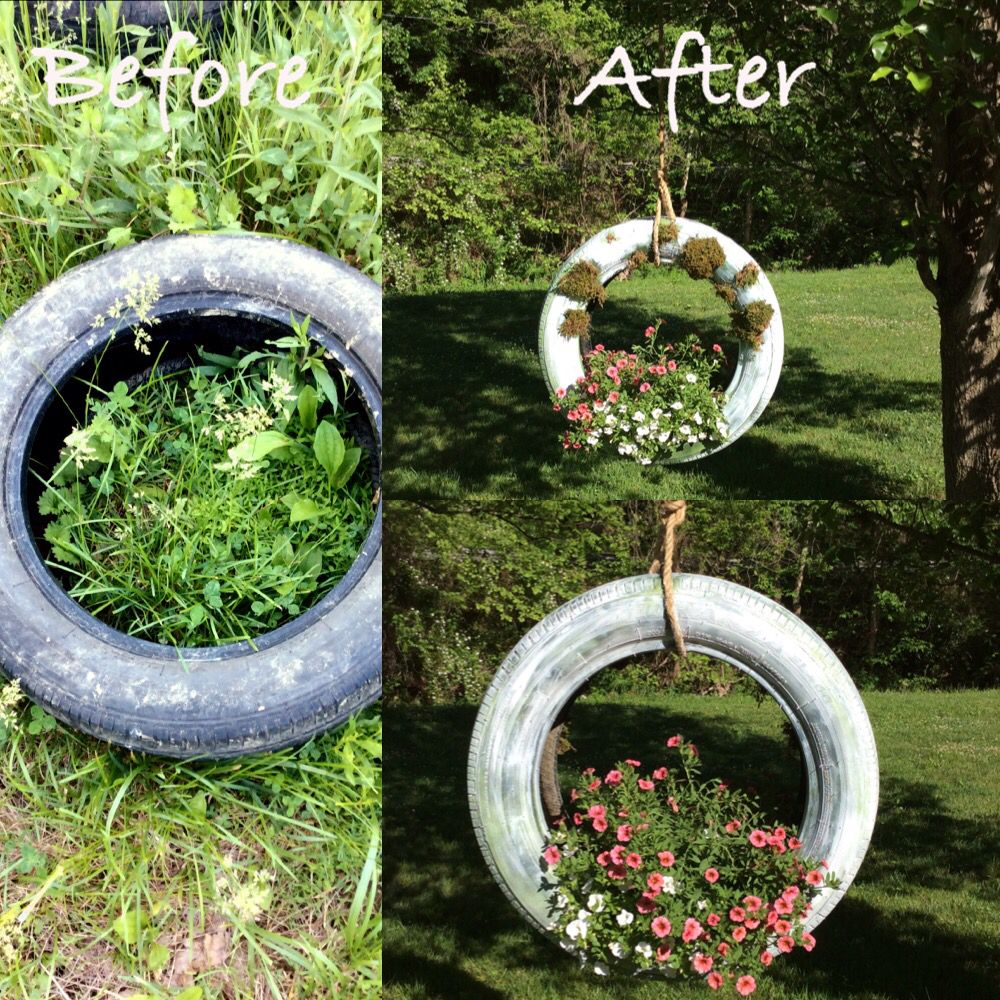 Repurposed Tire Swing Planter Flowers Tire Swings Planters Plants