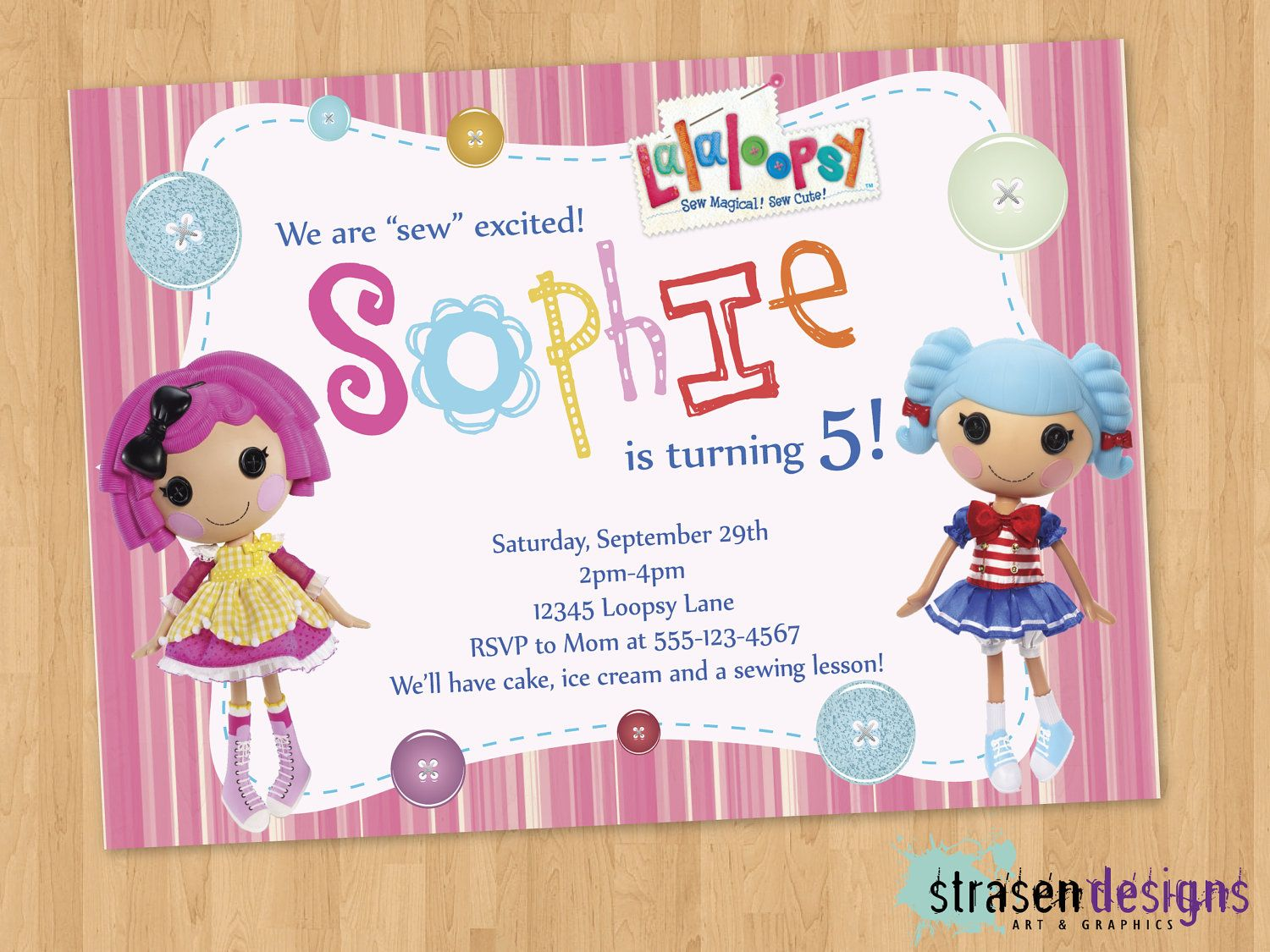 LalaLoopsy Birthday Invitation Printable by StrasenDesigns on Etsy ...