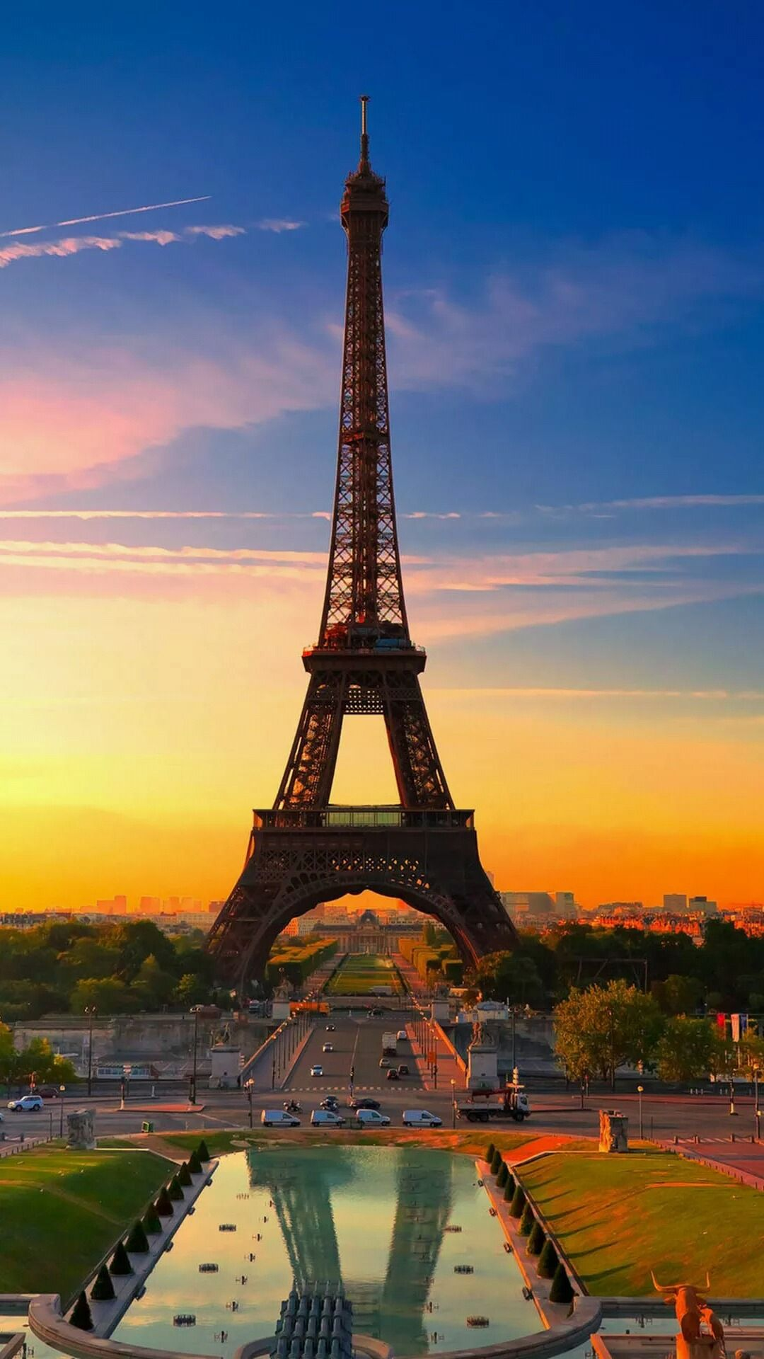Sunset shot of Eiffel Tower. Pray for Paris, Pray for the