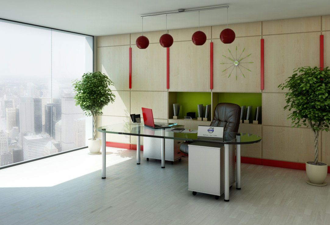 Simple White and Green Best Office Design with Rectangle Shaped ...