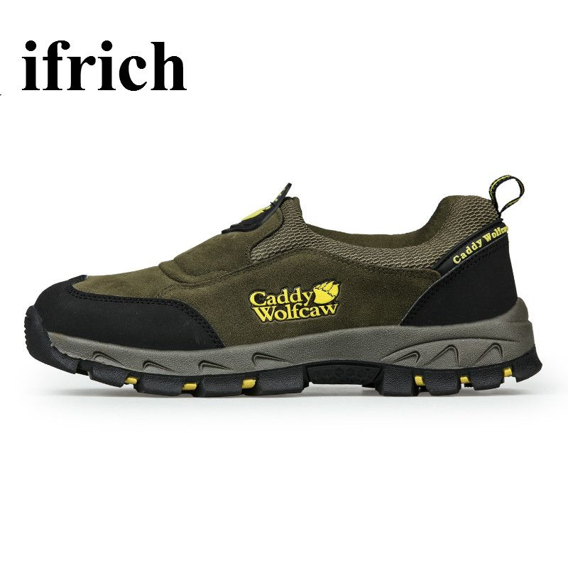 Ifrich Spring/Autumn Outdoor Trekking Shoes Slip On Mountain Climbing Shoes Army Green Hiking Boots Men Leather Trail Shoes #Affiliate
