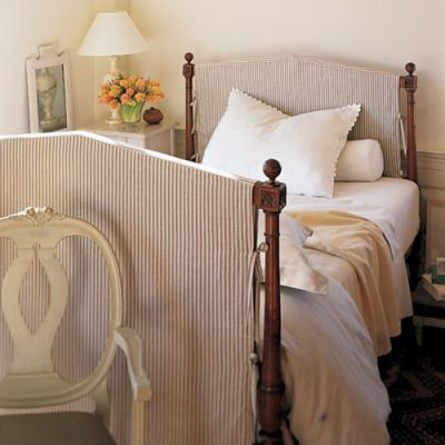 DIY Slipcovered Headboard: a great idea if you have an iron bed ...