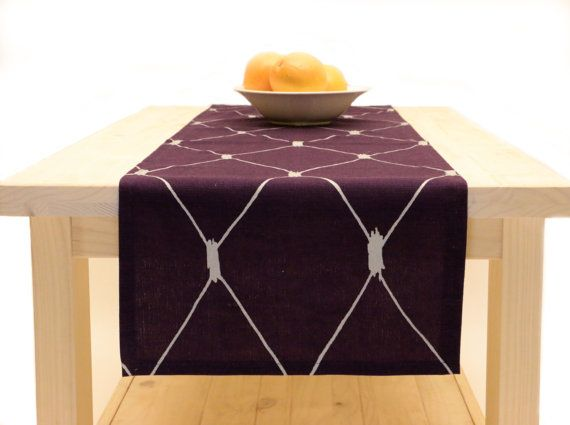 Purple Table Runner Purple, Table Runner Purple And Silver 72 Inches, 90  Inches, 108 Inches, 120 Inches Long