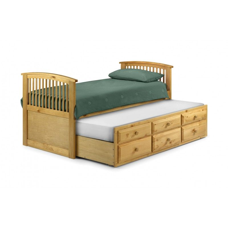 Hornblower Solid Pine Single Bed Trundle Pull Out Bed With