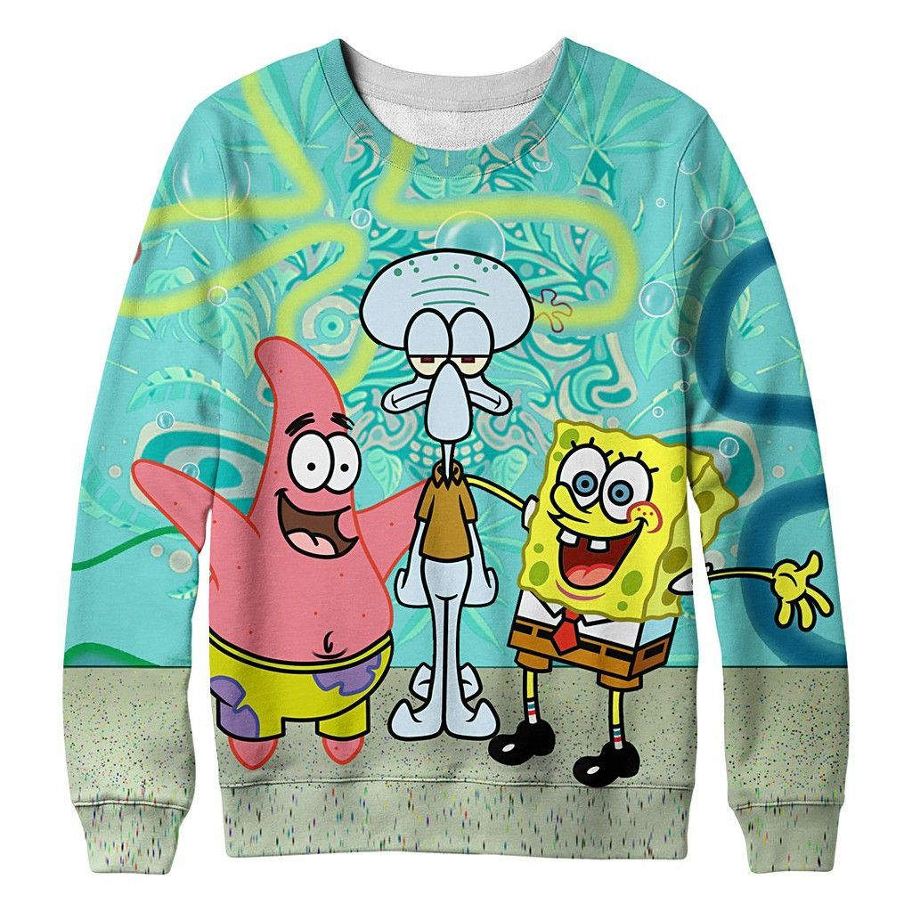 fbc79ed4d56 Funny SpongeBob and Patrick and octopus brother 3D fashionable cotton print  sweater