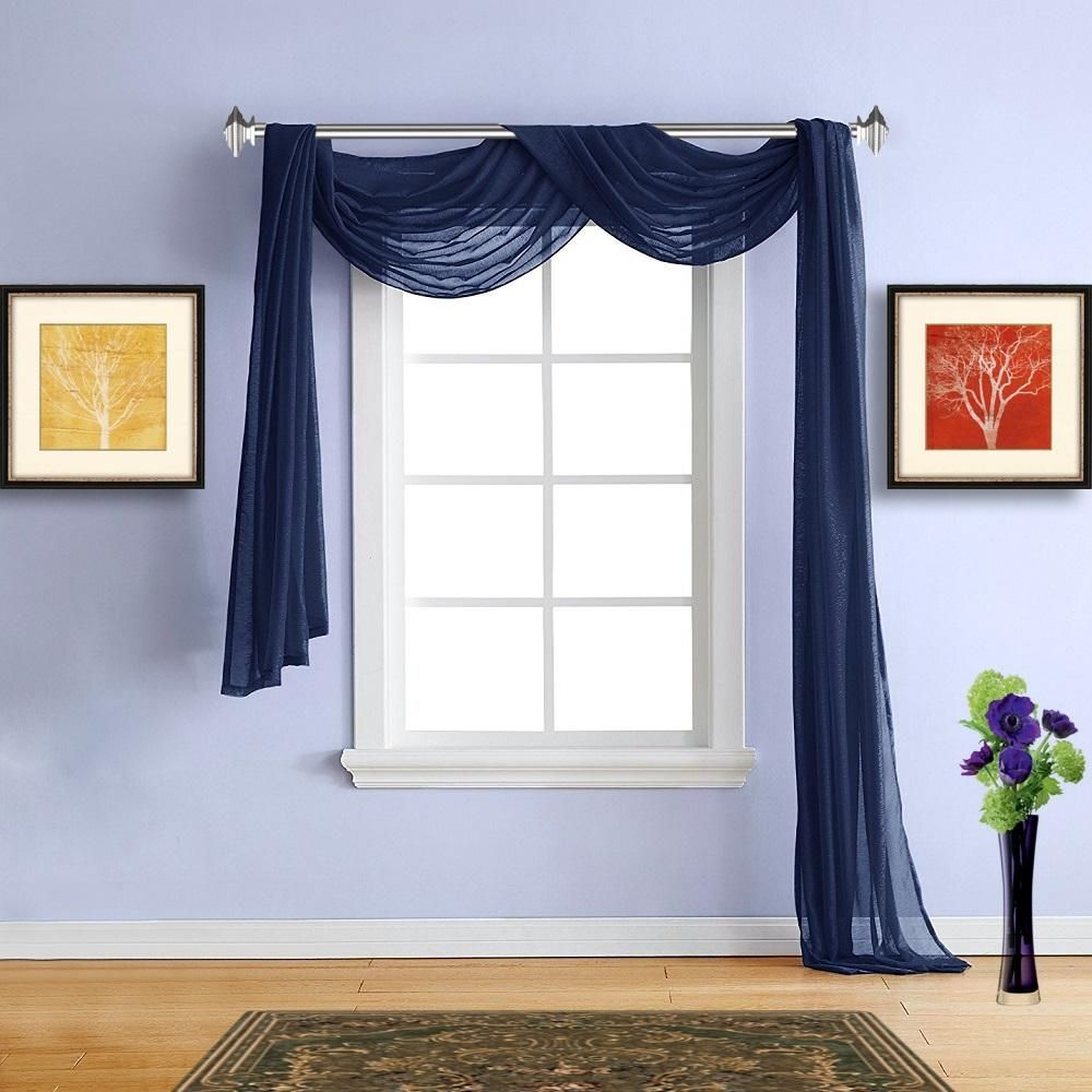 Warm Home Designs 1 Pair of Navy Blue Voile Sheer Window Curtains ...