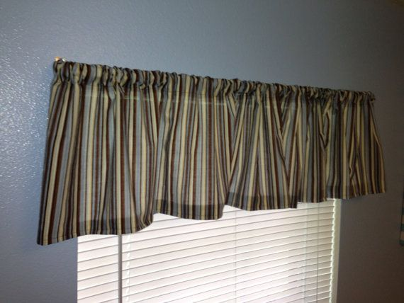 Blue Brown And Cream Striped Window Valance By Eleganthavendesigns