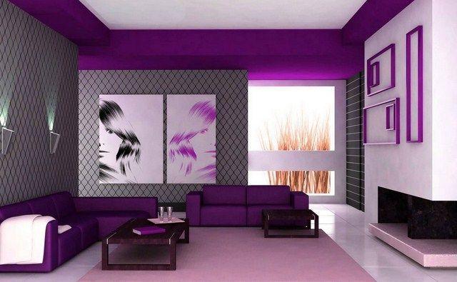 Wallpaper Dinding Ruang Tamu Minimalis Ungu