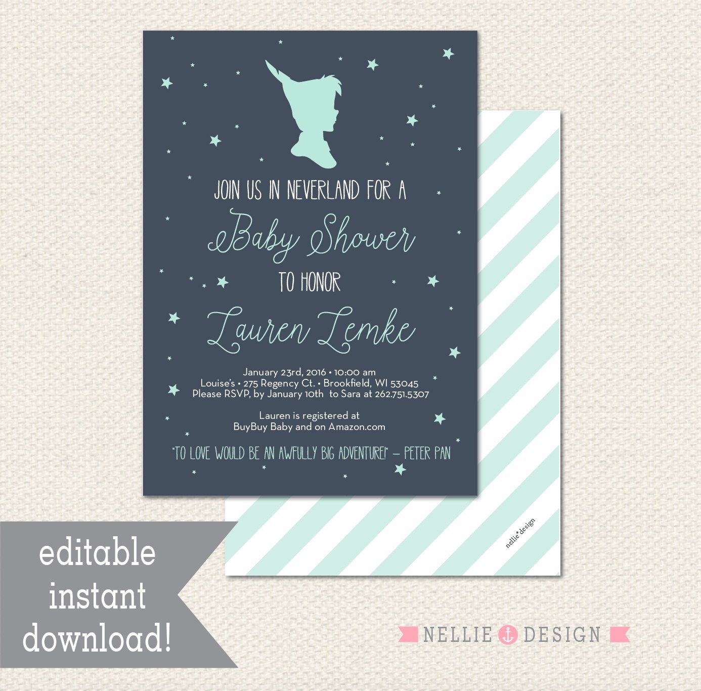 Editable NEVERLAND PETER PAN Baby Shower Invitation - Instant ...