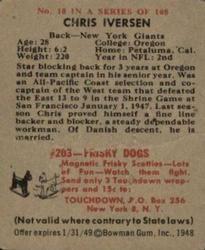 1948 Bowman #10 Chris Iversen Back