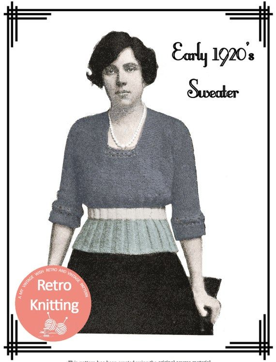 1920s Ladies Sweater Vintage Knitting Pattern - PDF ...