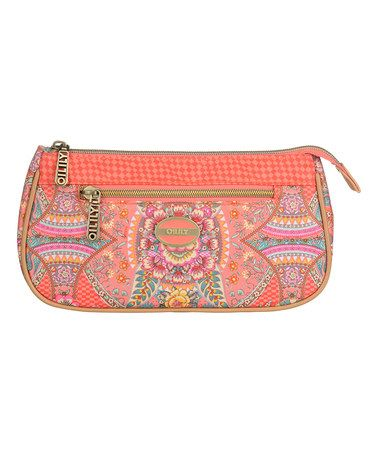 Coral Floral Dome Cosmetic Bag #zulily #zulilyfinds