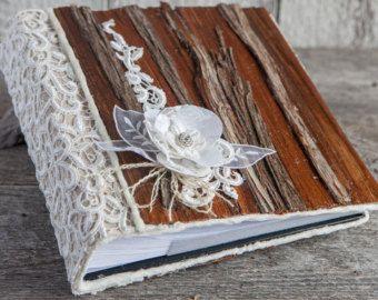 Wedding Album Wood Rustic Burlap Wooden Cedar Bark Scrapbook