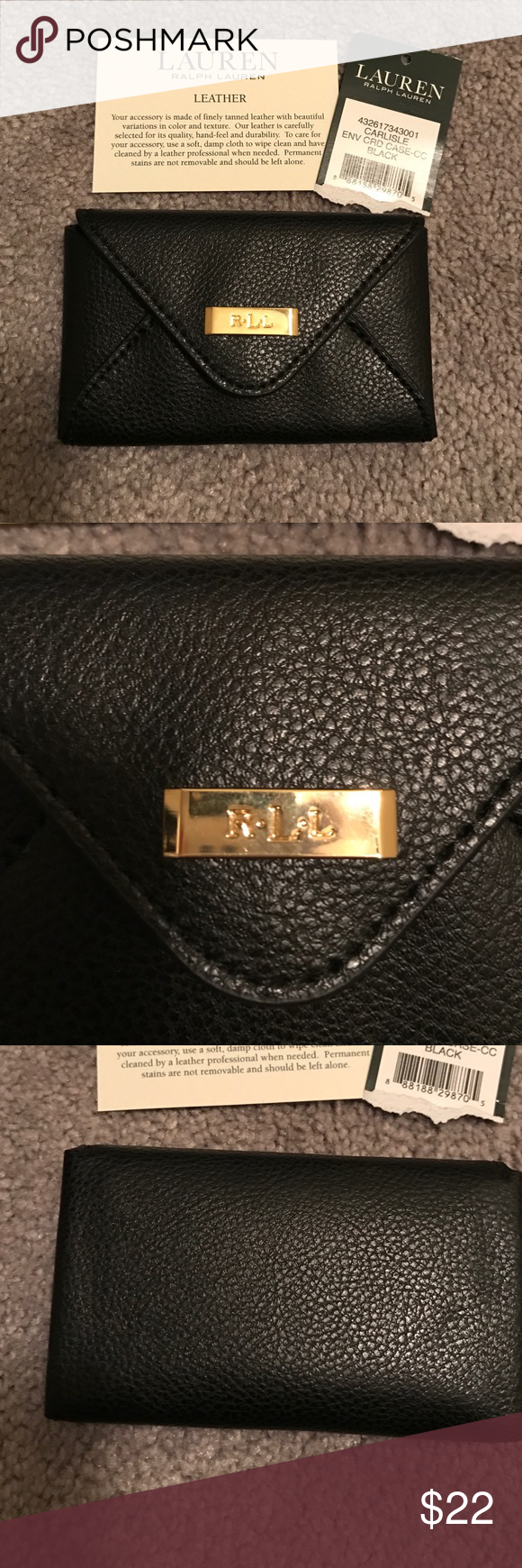 Ralph lauren black leather card case nwt leather card case card ralph lauren black leather card case perfect for credit cards or business cards snap closure ralph lauren accessories key card holders reheart Gallery