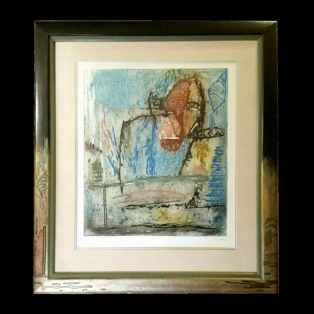 Martin Bissiere Contemporary Holzschnitt Visiteur 12 30 Im Galerierahmen Vintage World Maps Painting Art