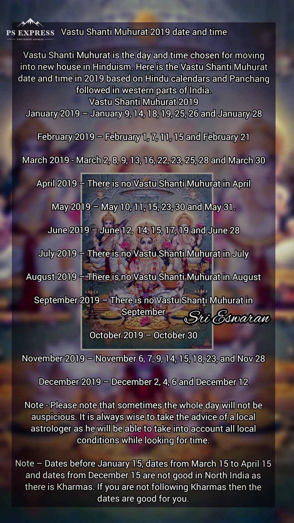 Vastu Shanti Muhurat 2019 date and time Vastu Shanti Muhurat is the