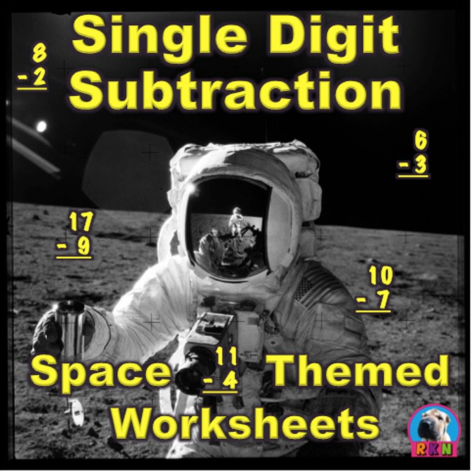 Single Digit Subtraction  Space Themed  Vertical  Subtraction