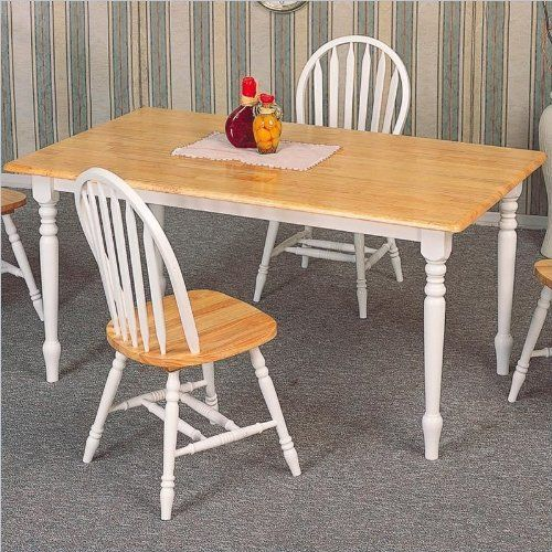 """Butcher Block Table in Natural / White - Coaster by Coaster Home Furnishings. $224.60. Dining and Kitchen. Some assembly may be required. Please see product details.. 60""""L x 36""""W x 29""""H. Dining and Kitchen->Dining Tables. Country Butcher Block Natural & White Wood Dining Table This is a brand new in box Dining Table in Butcher Block Natural Finish Solid Wood Table Top and Shabby White Chic Design Frame Furniture. Item is constructed in quality Solid Wood and co..."""