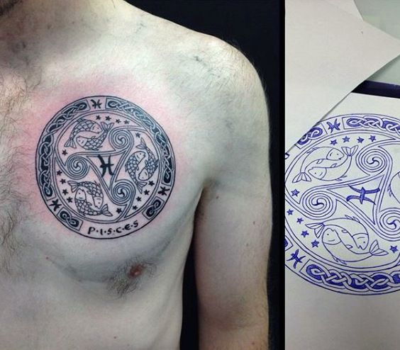 Cool Pisces Themed Mens Circle Upper Chest Tattoos Pisces Tattoos Tattoos For Guys Pisces Tattoo Designs