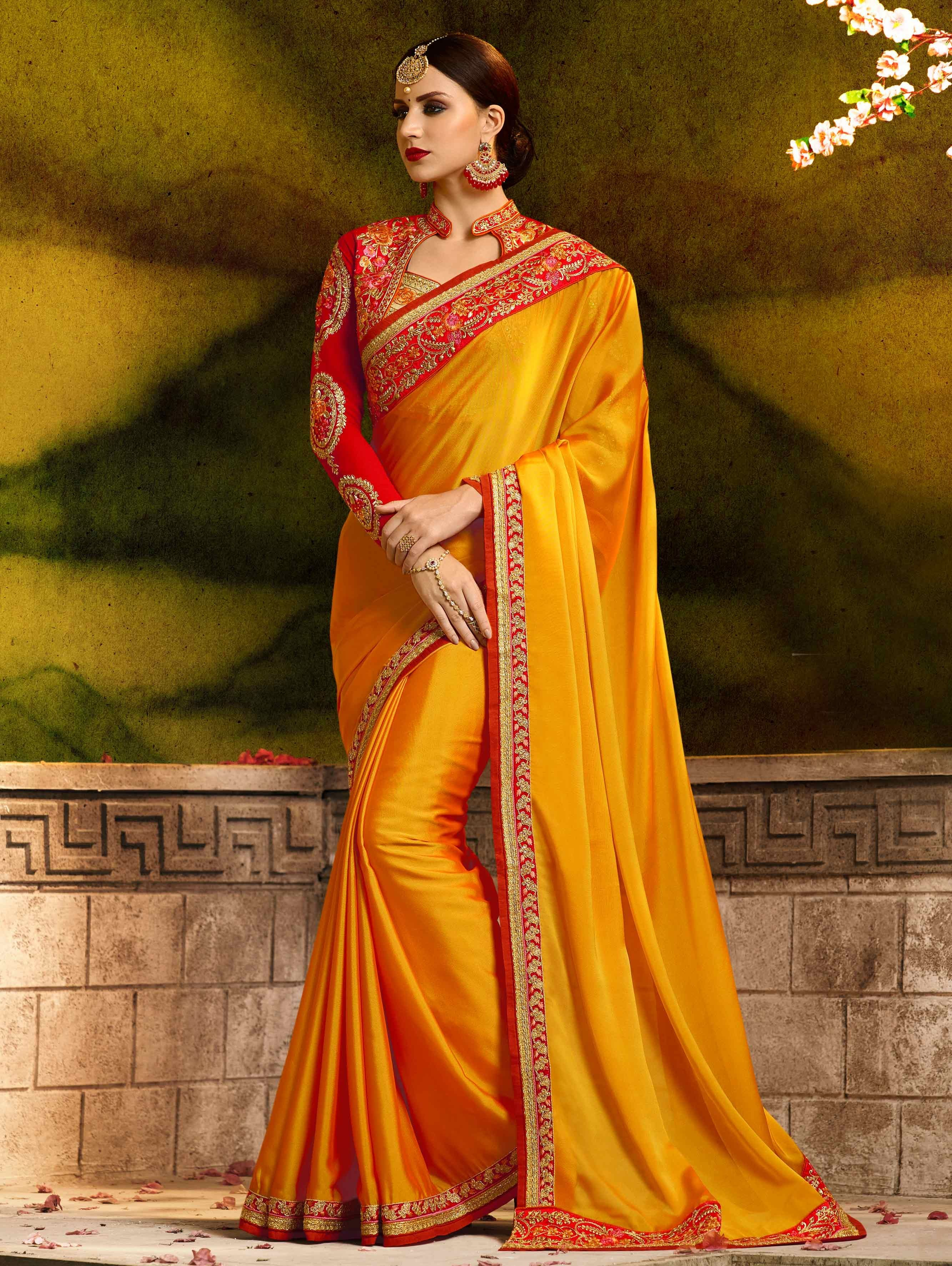 525105c96a Mustard Yellow Silk Plain Saree with Designer Blouse and Embroidered Border