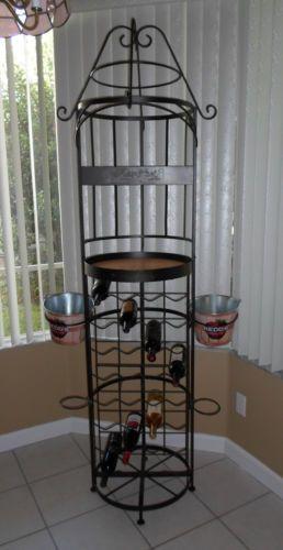 Wrought Iron Metal Wine Rack Gray 83 Tall Holds 32 Bottles Bucket