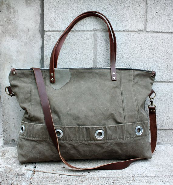 5e52c0964a6f Items similar to Unisex Tote Bag Zipper Top Military Duffel Bag Weekender  Bag on Etsy