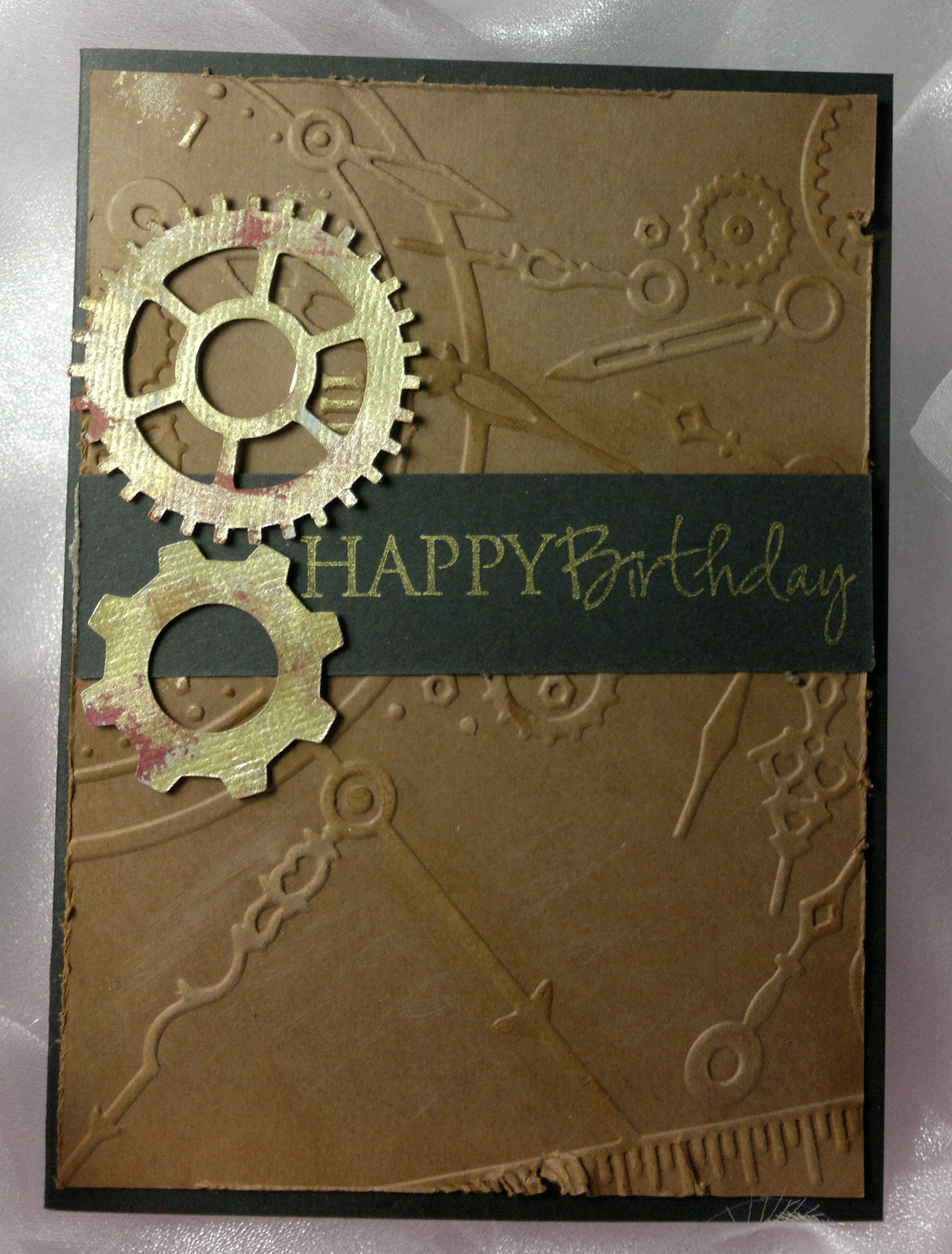 Masculine Card With Cogs Cut On The Silhouette Steampunk